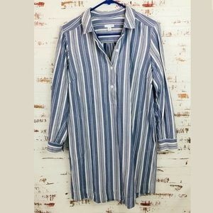 J Jill Striped Tunic Shirt Dress Blue White Pocket